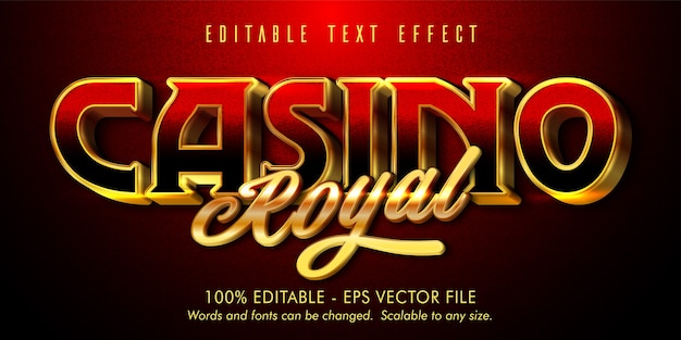 Texte royal de casino, effet de texte modifiable de style or brillant