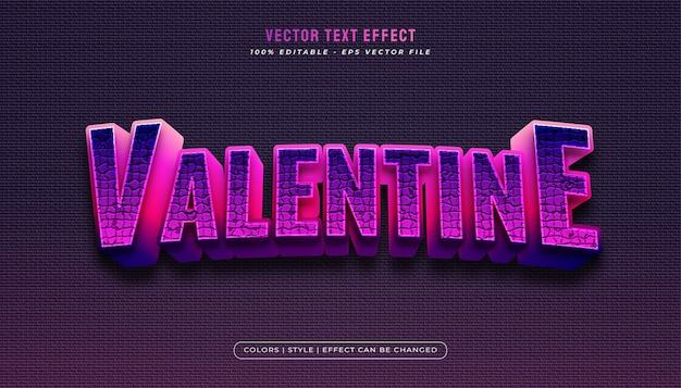 Texte de la saint-valentin coloré avec effet en relief et texturé dans un concept réaliste