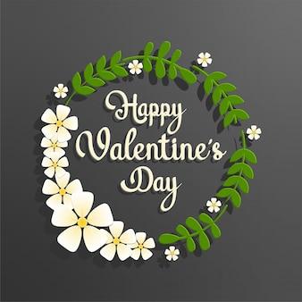 Texte de saint valentin heureux avec cadre floral cercle vert