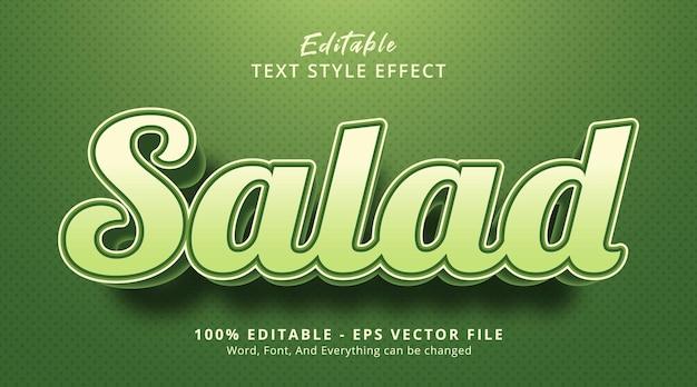 Texte de salade sur le style d'événement alimentaire de couleur nature, effet de texte modifiable