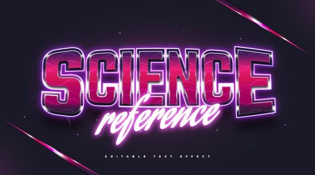 Texte scientifique dans un style rétro coloré et effet néon brillant. effet de style de texte modifiable