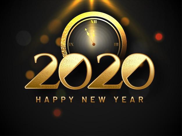 Texte scintillant 2020 avec illustration de l'horloge sur le bokeh noir pour carte de voeux de bonne année célébration.