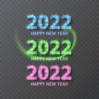 Texte de script happy new year 2022 avec texture scintillante modèle de conception affiche de typographie de célébration