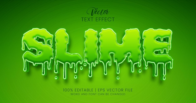 Texte slime, style d'effet de texte modifiable vert