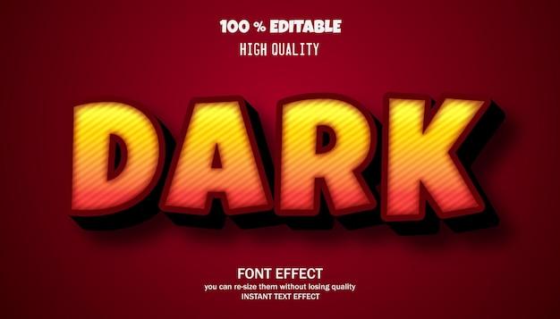 Texte sombre, effet de texte modifiable de style dessin animé