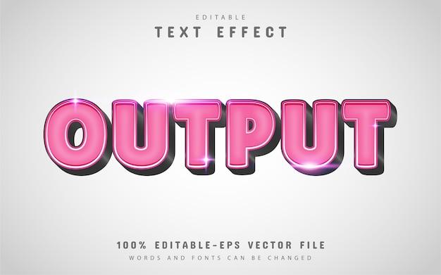 Texte de sortie, effet de texte modifiable couleur rose