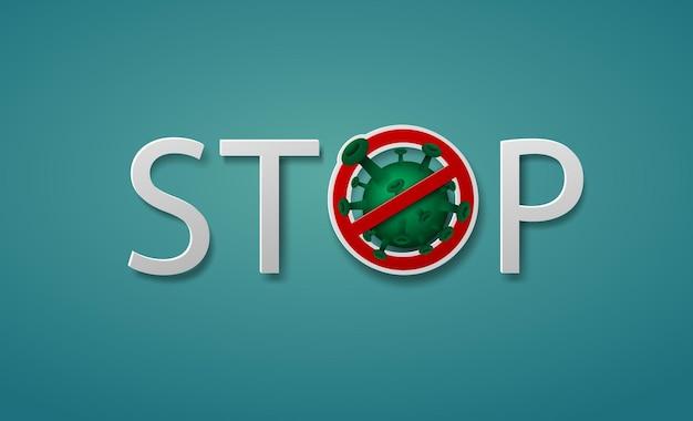 Texte stop coronavirus covid-19 signe et symbole sur fond vert.
