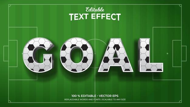Texte de style 3d de but avec des effets de texte modifiables de modèle de ballon de football