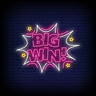Texte de style big win de signes au néon