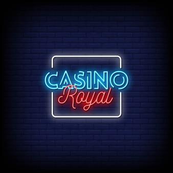 Texte de style casino royal enseignes au néon