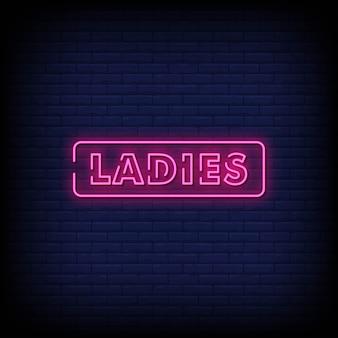 Texte de style dames enseignes au néon