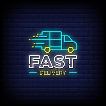 Texte de style enseigne au néon de livraison rapide avec une icône de voiture