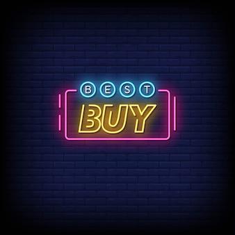 Texte de style d'enseignes au néon best buy