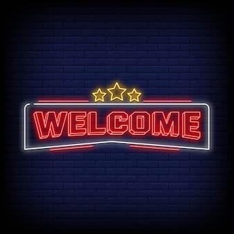 Texte de style des enseignes au néon de bienvenue