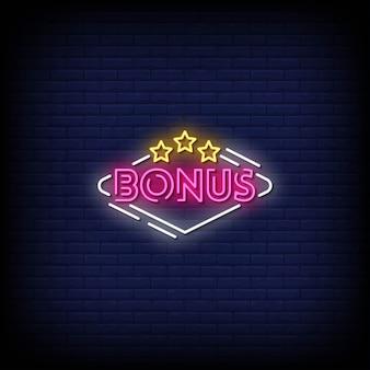 Texte de style d'enseignes au néon bonus