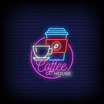 Texte de style d'enseignes au néon coffee house