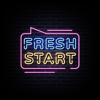 Texte de style d'enseignes au néon fresh start