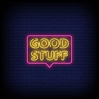 Texte de style d'enseignes au néon good stuff