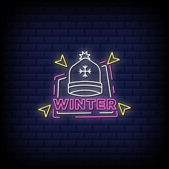 Texte de style d'enseignes au néon d'hiver
