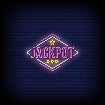 Texte de style d'enseignes au néon jackpot