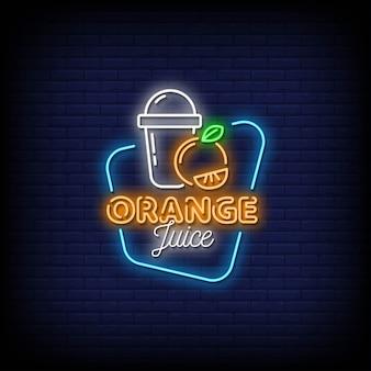 Texte de style d'enseignes au néon de jus d'orange