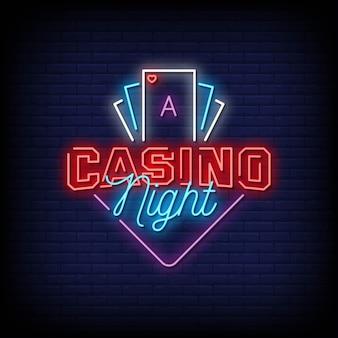 Texte de style enseignes au néon de nuit de casino
