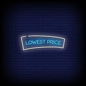 Texte de style d'enseignes au néon prix le plus bas