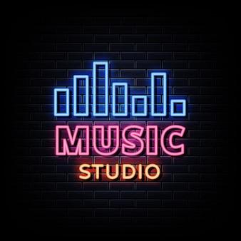 Texte de style d'enseignes au néon de studio de musique
