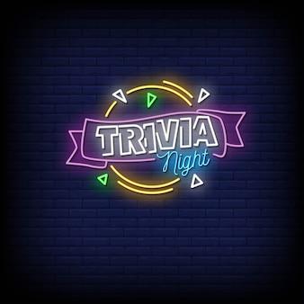 Texte de style des enseignes au néon trivia night