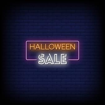 Texte de style d'enseignes au néon vente halloween