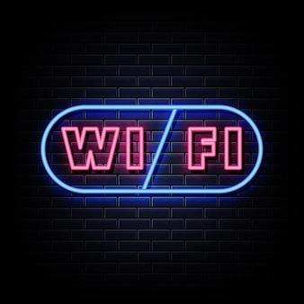Texte de style d'enseignes au néon wifi