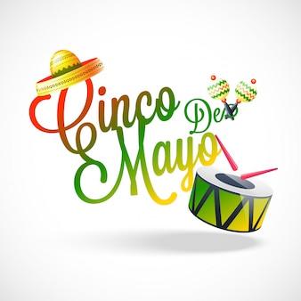Texte stylé de la fête de cinco de mayo