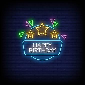 Texte de style joyeux anniversaire enseignes au néon