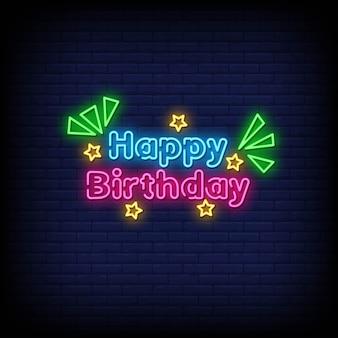 Texte de style joyeux anniversaire néon