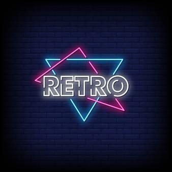 Texte de style rétro enseignes au néon