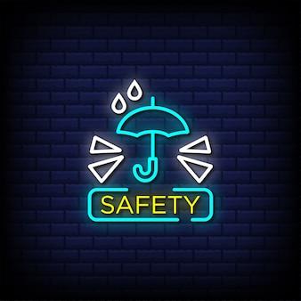 Texte de style de signalisation au néon de sécurité