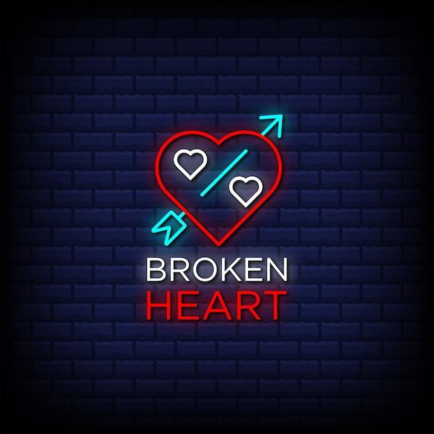 Texte de style de signes au néon coeur brisé