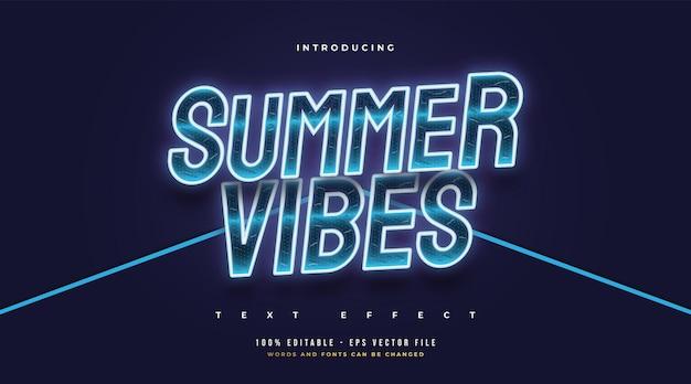 Texte summer vibes en bleu froid avec effet néon brillant. effet de style de texte modifiable