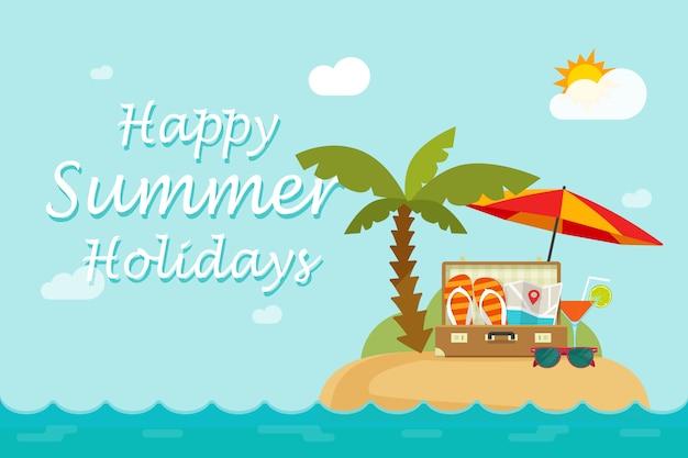 Texte de vacances heureux l'été sur l'illustration de l'île paradisiaque de station balnéaire en style cartoon plat