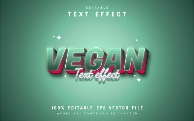 Texte végétalien - effet de texte de style dégradé modifiable