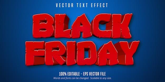 Texte de vendredi noir, effet de texte modifiable de style dessin animé sur fond texturé bleu