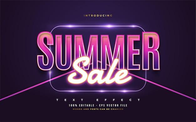 Texte de vente d'été dans un style rétro coloré et effet néon brillant. effet de style de texte modifiable