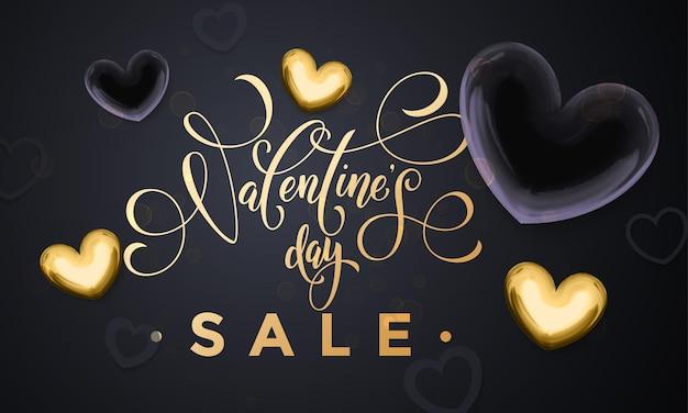 Texte de vente d'or de luxe pour lettrage de la saint-valentin et coeurs dorés sur fond noir premium poster