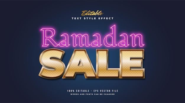 Texte de vente ramadan avec dégradé doré et effet néon brillant