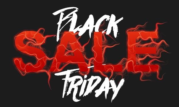 Texte de vente vendredi noir de vecteur avec fond de flammes de feu rouge
