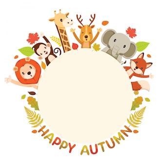 Textes d'automne heureux avec des animaux sur un cadre rond