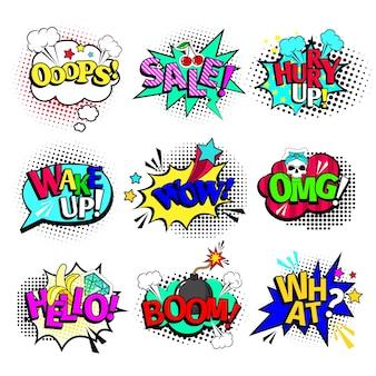 Textes de bandes dessinées. bulles de discours d'art de bande dessinée de bande dessinée et explosions d'action avec du texte wow et ooops, vente et bonjour isolés