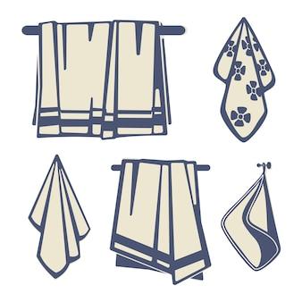 Textile de salles de bains, jeu d'icônes de serviettes isolé sur blanc