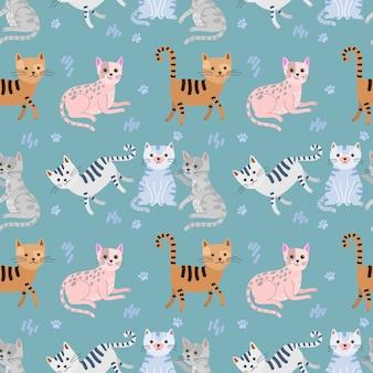 Textile de tissu modèle sans couture chat mignon.