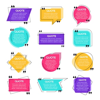 Texting cite des cadres. modèle de zone de texte, cite la bulle de dialogue de citation moderne et les boîtes de dialogue de citation de réseau social. remarque jeu d'icônes de modèle de cadres de texte. toiles de fond de citations